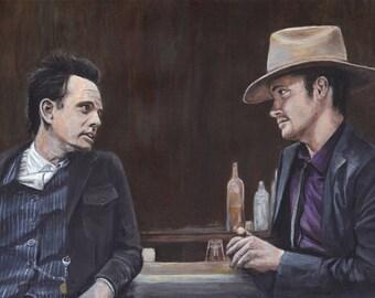 Justified Raylan Givens Boyd Crowder Timothy Olyphant Walton Goggins Acrylic Painting Art Print 11.7 x 16.5 inches