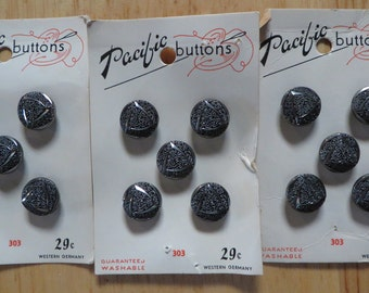 3 cards Vintage Pacific Buttons Charcoal Black sparkly Grey color textured 15 total  Western Germany