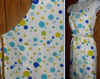 Apron Mill Creek 7 oz cotton duck fabric large pocket long ties adjustable neck loop blue and green circles on white