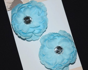 Light Blue Flower Hair Clip Set - Buy 3 Items, Get 1 Free