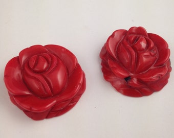 Carved Rose Coral Pendant // Flower Pendant // Red Coral Pendant // Flower Carved Coral // Red Rose Pendant // PENDROSE1