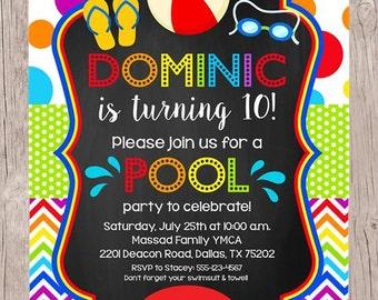 PRINTABLE Pool Party Invitation / Boys Swimming Birthday Party / Chalkboard and Rainbow Chevron / You Print