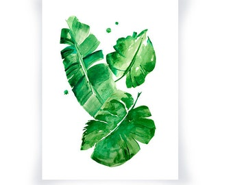 Banana Leaves Watercolor Print, Green Wall Art Home Decor, Green Watercolor Leaf Art Print, Monstera Watercolor Art, Tropical Leaves Decor