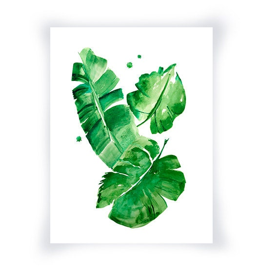 Green Wall Art banana leaves watercolor print green wall art home decor