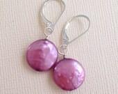 Purple Coin Pearl Earrings, Orchid Earrings, Pearl Drop Earrings, Sterling Silver