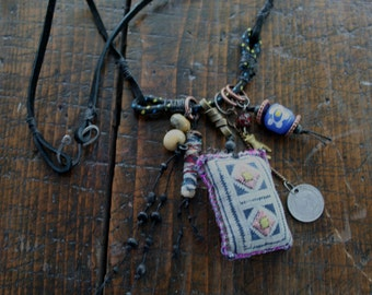 vintage Textile AMULET Necklace - Urban Gypsy Talisman Protective Jewelry
