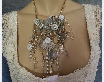 Statement Collage Necklace of Vintage French Beaded Flowers, Vintage Jewelry and Freshwater Pearls, Bridal, Wedding