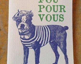 Fou Por Vous french bulldog letterpress card love dog crazy for you