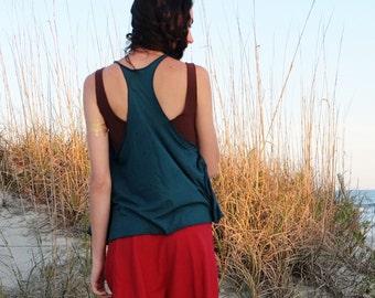 Organic Shirt - Racer Back Tank Wanderer Cropped Shirt ( organic tissue cotton knit )  - organic shirt