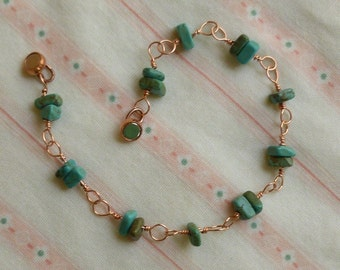 copper wire wrap turquoise chip bracelet