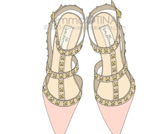 Studded Heels Pink Fashion Illustration Art Print