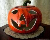 Adorable Vintage Handmade Ceramic Halloween Pumpkin Jack o Lantern with removable lid - Circa 1986 - Signed
