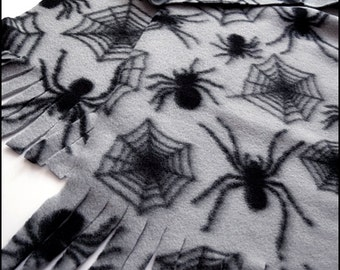 Arachne - Cozy Pale Grey Fleece Scarf with Soft Black Spiders and Webs - Brand New & Ready to Ship!