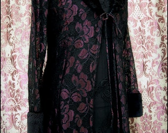 Wicked Princess - Regal Vintage Gothic Lace Coatdress - Black & Wine Lace with Black Faux Fur Accents - XS size