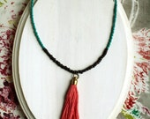 Salvador Tassel Necklace, Coral Tassel, Wood Beads, Turquoise Glass Beads, Bohemian Long Layering Necklace
