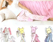 Nightgown pajamas pants slippers bag blanket knit top for women Juniors size sewing pattern Simplicity 5923 Sz Sm to XL Uncut