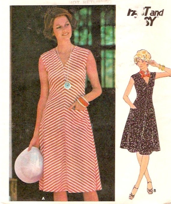 70s Vintage Dress sewing pattern Knit bias or straight grain