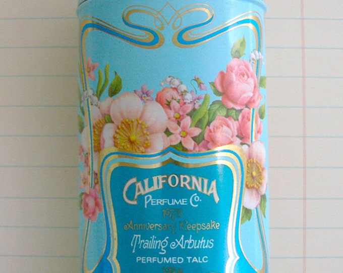 Avon Anniversary Keepsake Tin California Souvenir 70s Vintage Trailing Arbutus Floral Blue Perfumed Talc Collectible