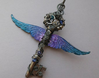 Winged Clockwork Key Pendant -- Steampunk Blue-Purple Inked Large Feathered Winged Key with Silver Gears, Swarovski Crystals (A Key to Time)