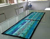 CUSTOM order for Cristina -  Art Quilt Minimalist Turquoise Ocean Table Runner