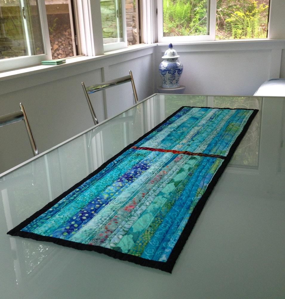 Modern quilted table runner fiber art wall hanging modern for Modern table runner