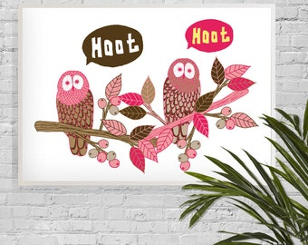 A3 Heavy Weight Print • Hoot Hoot, a Cute Illustration of a Pair of Owls.