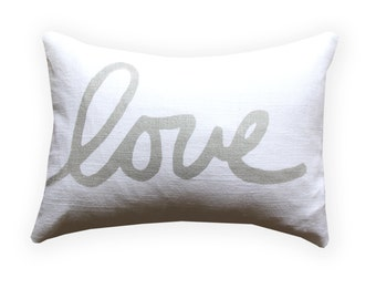 Metallic Silver and White Love Throw Pillow - Lumbar Love Pillow - Hand Lettered Screenprint - Gold and Silver Pillow