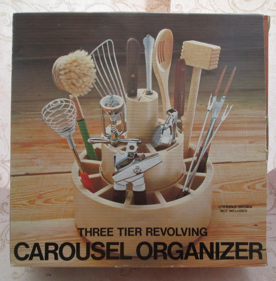 Utensil holder 1970s art supply storage desk organizer - Lazy susan desk organizer ...