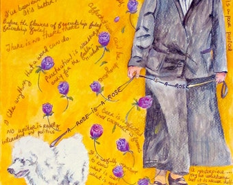 Gertrude Stein Walking Her Dog Mixed Media Drawing On Paper Original