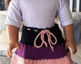 Hand Knit Three Tiered Skirt for the American Girl Doll   18 inch doll