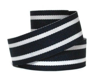 "Navy 7/8"" Striped Grosgrain Ribbon by the Yard / Blue White Hampton / Blue White Striped Ribbon / Hair Bow Supplies / Preppy Ribbon"