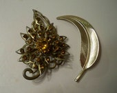 Gold Leaf Brooches Vintage Gold Amber Rhinestone Brooch and Curved Gold Feather/Leaf Brooch