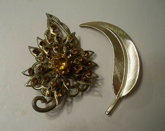 Gold Leaf Brooches Vintage Gold Amber Rhinestone Brooch and Curved Gold Feather/Leaf Brooch 2 Vintage Brooches Gifts for Women