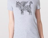 Flying Cat Womens T-Shirt Small, Medium, Large, XL in 7 Colors