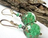 Murano Glass Earrings, Jade Green Italian Green Art Glass Dangle, Venetian Italy Made, Brass Glass Dangle, Chubby Green Earrings