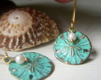 Sand Dollar Earrings, Patina Earrings, White Pearl Small Sand Dollar, Beach Jewelry, Mint Aqua Earrings, Ocean Jewelry