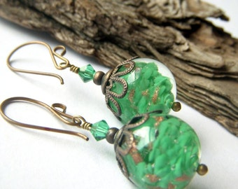 Murano Glass Earrings, Jade Green Italian Green Art Glass Dangle, Venetian Italy Made, Brass Glass Dangle, Chubby Green Earrings