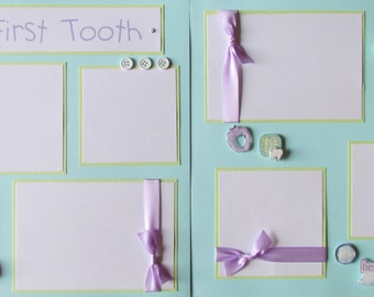 12x12 Premade Scrapbook Pages Layout for baby boy or baby girl -- MY FIRST TOOTH -- baby's first tooth, first year album
