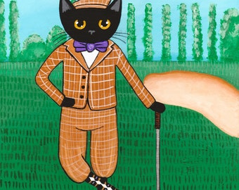 CAT Art Dad's Golf Outing - Original Cat Folk Art Painting