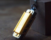 Mini harmonica necklace // playable instrument // guys love them too // N048G