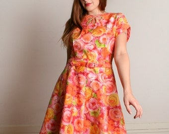 Vintage 1960s Mode O Day Dress - Sherbert Pastel Citrus Watercolor Print Dress - Medium