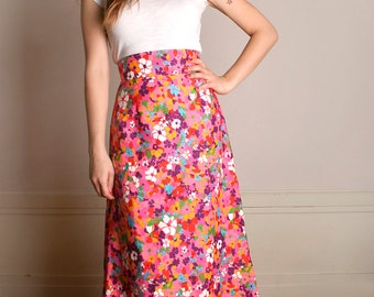 Vintage 1960s Maxi Skirt - Bright and Bold Psychedelic Floral Skirt - Small to Medium