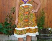 Bohemian Paisley Dress Hippie Psychedelic Boho Backless Purple Gold Vintage Hippy Spring Summer Patchwork Retro Designer elyse oRiGiNaLs