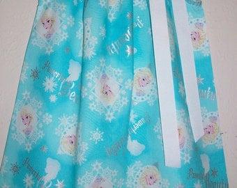 Elsa Dress Frozen Dress Pillowcase Dress Aqua Blue Girls Dress Powerful Beauty Badge Snowflakes Winter Party baby dress toddler dress