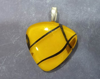 Tangerine Orange Omega Slide, Fused Glass Pendant, Orange Necklace Slide, Womens Fused Glass Jewelry, Autumn - Stature -3790-2