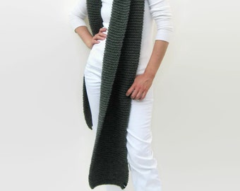 Blanket Scarf - Oversize Chunky Knit in Soft Wool Blend Dark Gray - Extra Long - Man - Woman