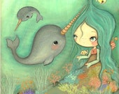 Narwhal Print Whimsical Sea Girl Ocean Fish Cute Jellyfish Nursery Children Art Decor--- Under The Sea Print