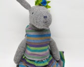 Frankie, Knitted Rabbit, Hand Knit Bunny, OOAK