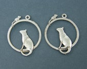 6 Pcs Silver Cat Earring Findings Round Cat Pendant Antique Silver Cat and Mouse Hoop Earring Dangles |S15-5|6