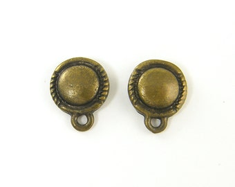 Antique Brass Round Stud Earring Finding with Loop Post Jewelry Supply |AN2-2|2
